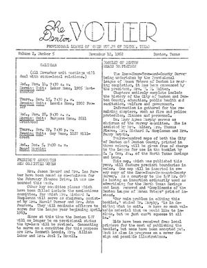 Primary view of object titled 'The Denton Voter Newsletter, Volume 02, Number 05, November 12, 1962'.