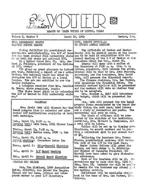Primary view of object titled 'The Denton Voter Newsletter, Volume 02, Number 08, March 10, 1963'.