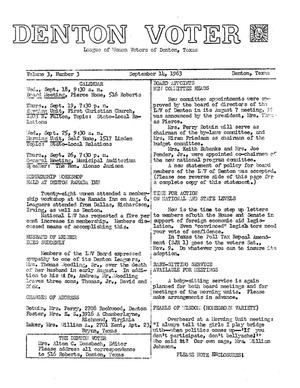 Primary view of object titled 'The Denton Voter Newsletter, Volume 03, Number 03, September 11, 1963'.