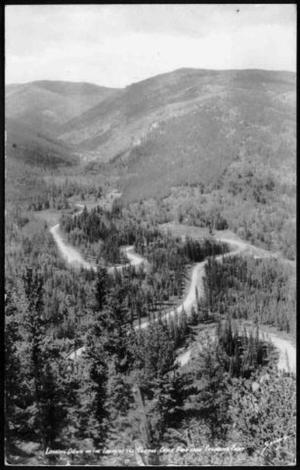 Primary view of object titled '[Postcard image of a panoramic view of the Chicago Creek Road]'.