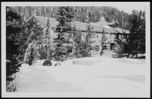 "Primary view of object titled '[Postcard image of "" 'Echo Lake Lodge In May' Colo.""]'."