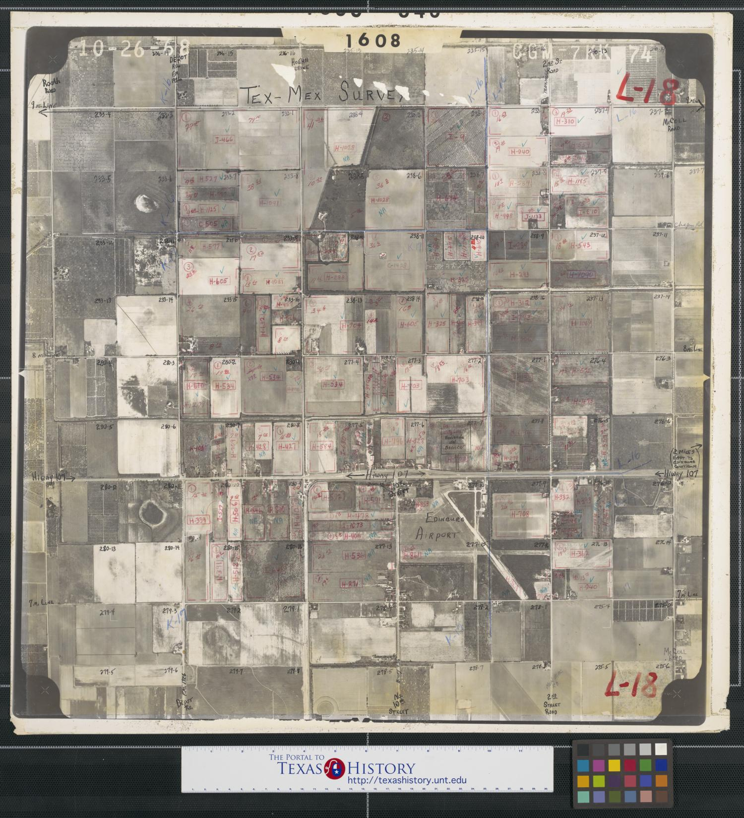 [Aerial Photograph of Edinburg Airport and Highway 107]                                                                                                      [Sequence #]: 1 of 2