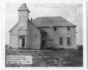 Primary view of object titled '[Community Church, Masonic Lodge No. 999, Haslet School]'.