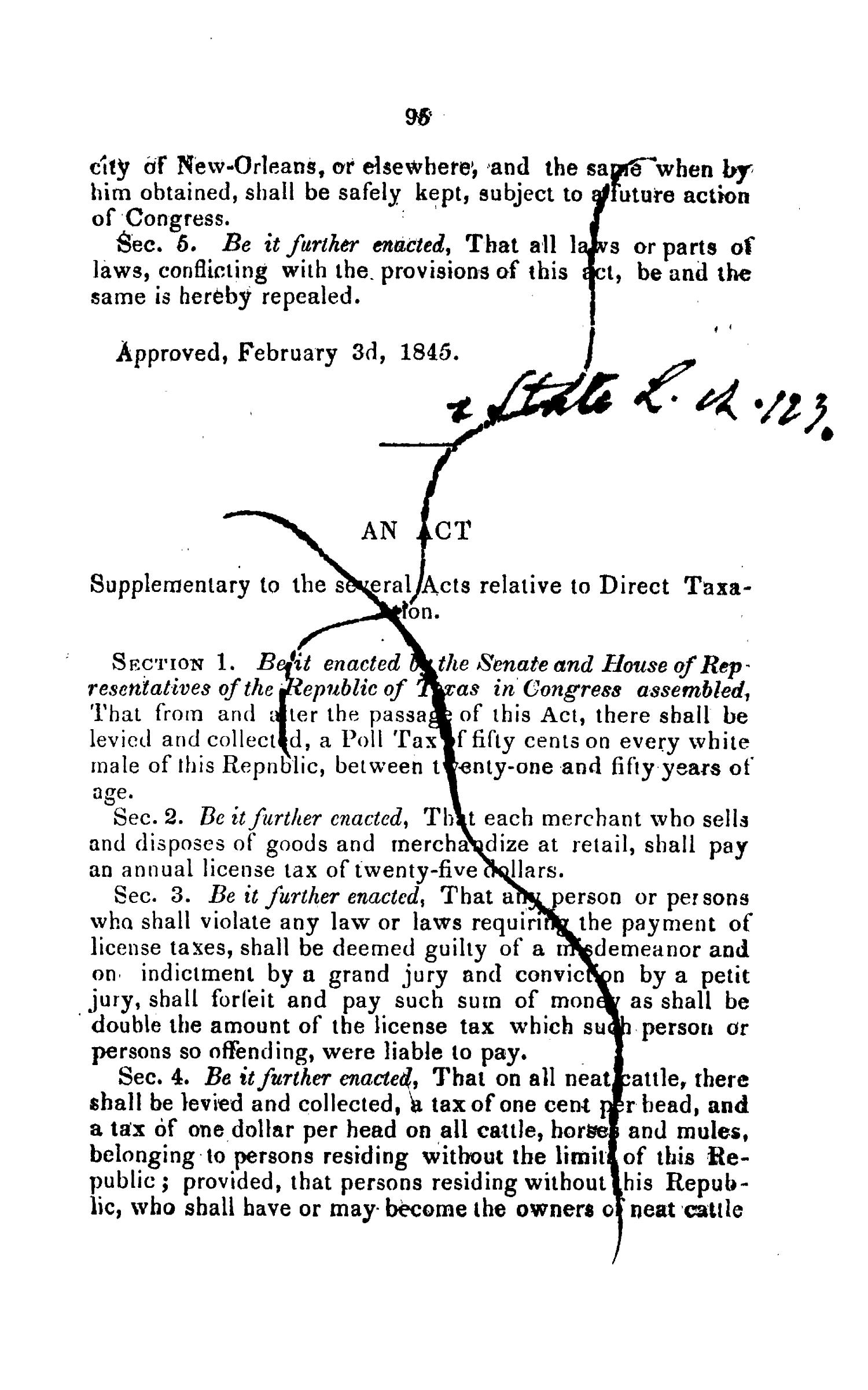 Laws Passed by the Ninth Congress, of the Republic of Texas.                                                                                                      95