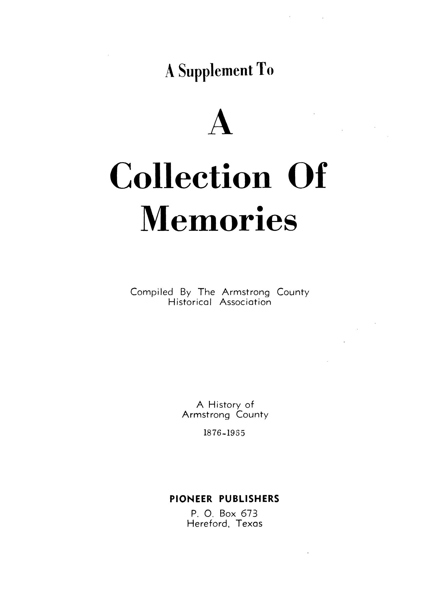 A Supplement To A Collection of Memories: A History of Armstrong County, 1876-1965                                                                                                      1