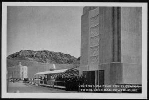 "[Postcard image of ""Visitors Waiting For Elevator To Boulder Dam Powerhouse""]"