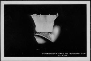 "[""Downstream Face of Boulder Dam At Night""]"