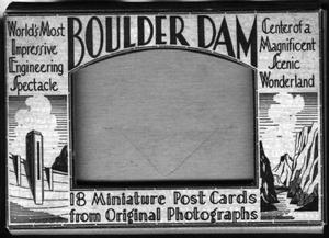 Primary view of object titled '[Cardboard box that contained eighteen postcards of Boulder Dam]'.