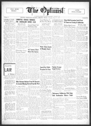 Primary view of The Optimist (Abilene, Tex.), Vol. 25, No. 27, Ed. 1, Thursday, April 21, 1938