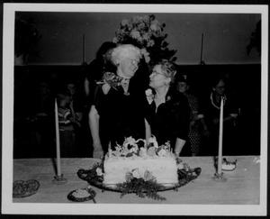 Primary view of object titled '[Babe Leake and Sara Purifoy at Babe's 90th birthday party]'.