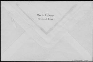 "Primary view of object titled '[Linen style envelope with ""Mrs. A. P. George Richmond, Texas"" printed on it]'."