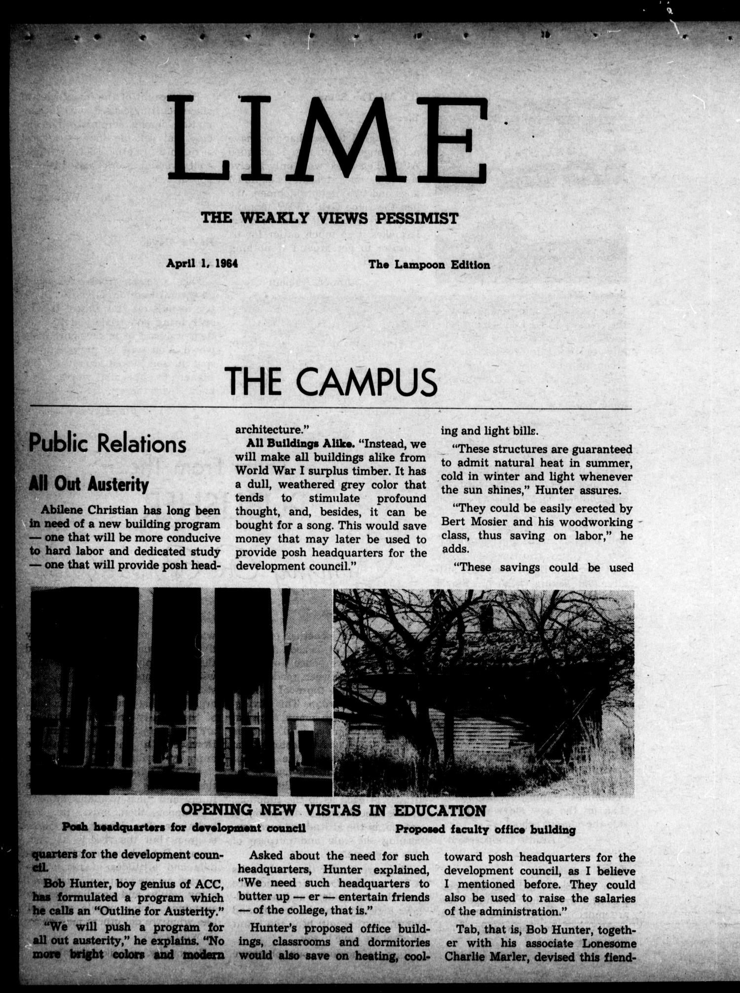 The Optimist (Abilene, Tex.), Ed. 1, Wednesday, April 1, 1964                                                                                                      [Sequence #]: 13 of 16