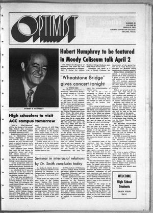 Primary view of object titled 'The Optimist (Abilene, Tex.), Vol. 60, No. 20, Ed. 1, Friday, March 9, 1973'.