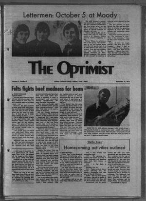 Primary view of object titled 'The Optimist (Abilene, Tex.), Vol. 61, No. 2, Ed. 1, Friday, September 14, 1973'.