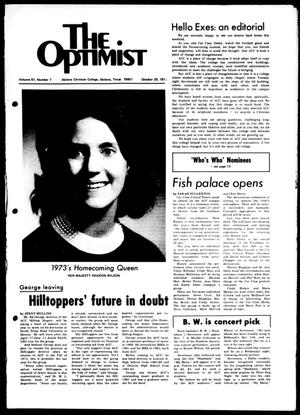 Primary view of object titled 'The Optimist (Abilene, Tex.), Vol. 61, No. 7, Ed. 1, Saturday, October 20, 1973'.