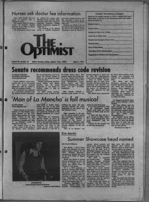 Primary view of object titled 'The Optimist (Abilene, Tex.), Vol. 61, No. 19, Ed. 1, Friday, March 1, 1974'.