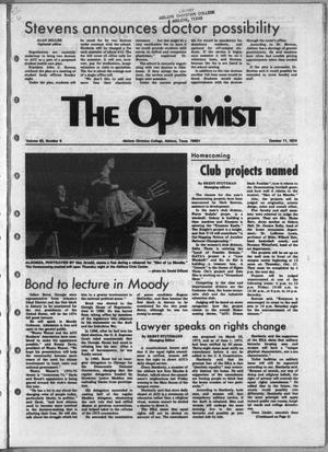 Primary view of object titled 'The Optimist (Abilene, Tex.), Vol. 62, No. 6, Ed. 1, Friday, October 11, 1974'.