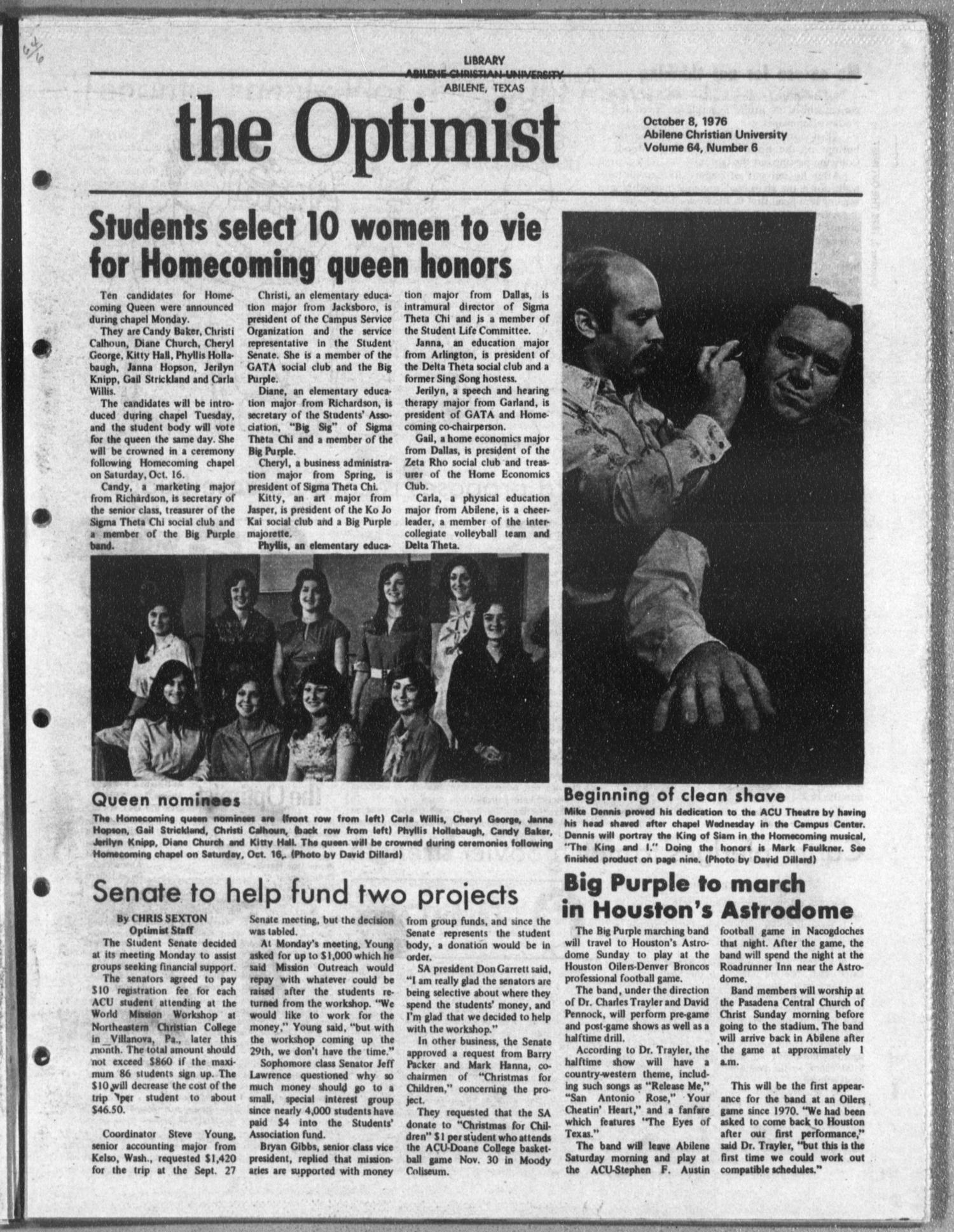 The Optimist (Abilene, Tex.), Vol. 64, No. 6, Ed. 1, Friday, October 8, 1976                                                                                                      [Sequence #]: 1 of 12