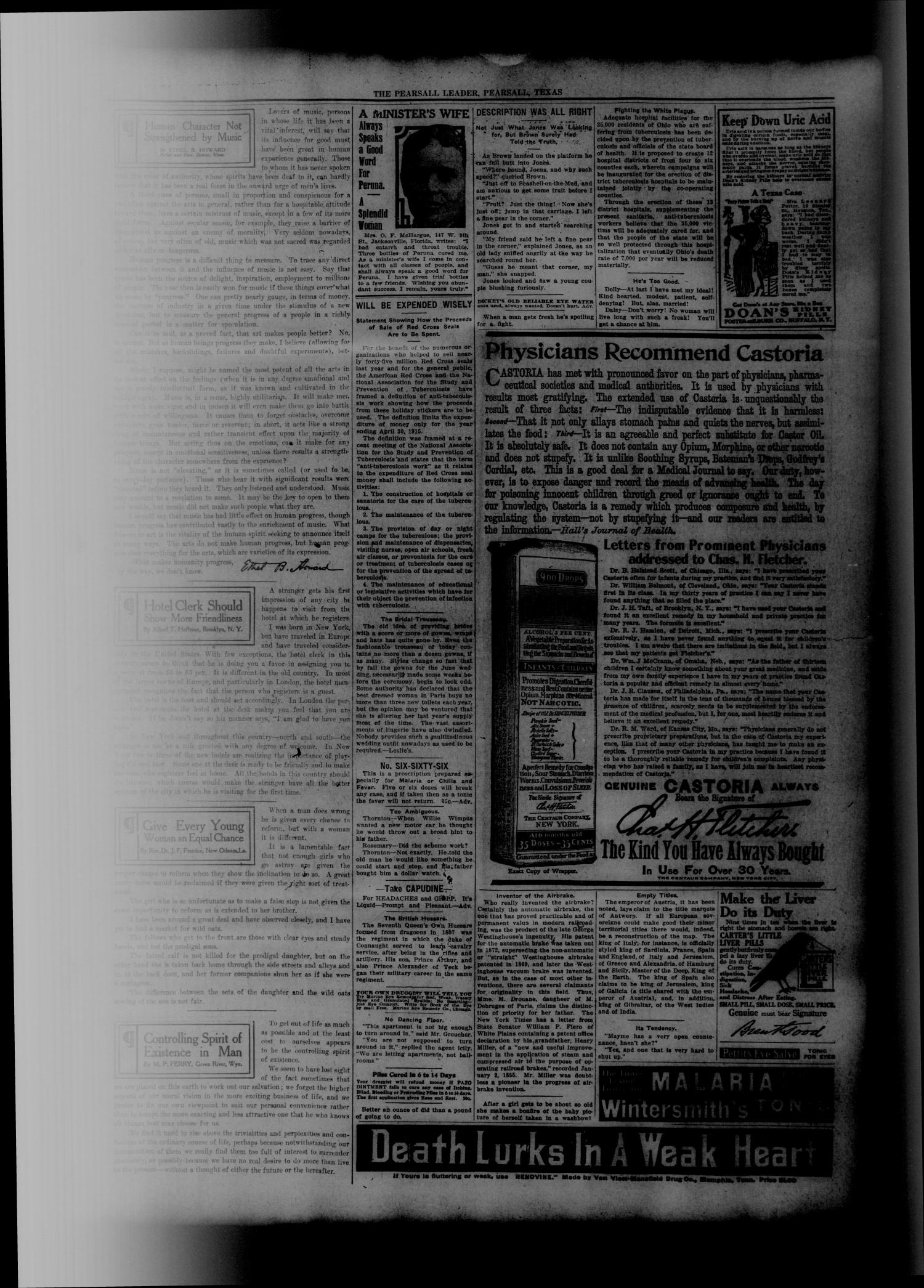 The Pearsall Leader (Pearsall, Tex.), Vol. 20, No. 26, Ed. 1 Friday, October 9, 1914                                                                                                      [Sequence #]: 3 of 8