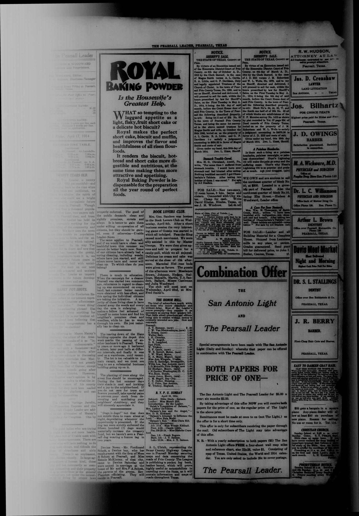 The Pearsall Leader (Pearsall, Tex.), Vol. 20, No. 1, Ed. 1 Friday, April 17, 1914                                                                                                      [Sequence #]: 4 of 8