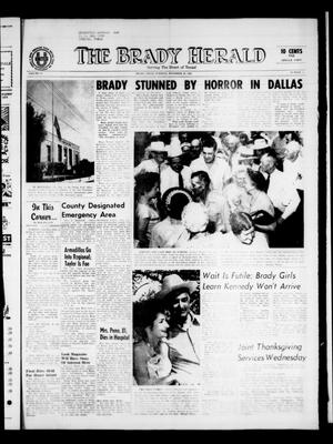Primary view of object titled 'The Brady Herald (Brady, Tex.), Vol. 21, No. 3, Ed. 1 Tuesday, November 26, 1963'.