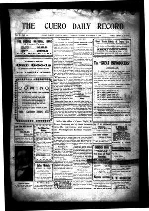 Primary view of object titled 'The Cuero Daily Record (Cuero, Tex.), Vol. 31, No. 122, Ed. 1 Tuesday, November 23, 1909'.