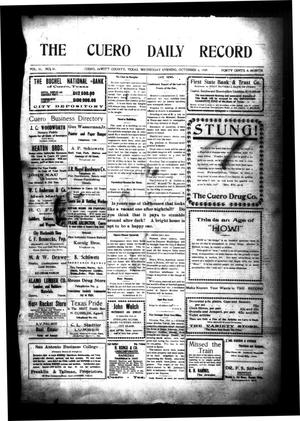 Primary view of object titled 'The Cuero Daily Record (Cuero, Tex.), Vol. 31, No. 81, Ed. 1 Wednesday, October 6, 1909'.