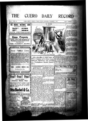 Primary view of object titled 'The Cuero Daily Record (Cuero, Tex.), Vol. 31, No. 132, Ed. 1 Sunday, December 5, 1909'.