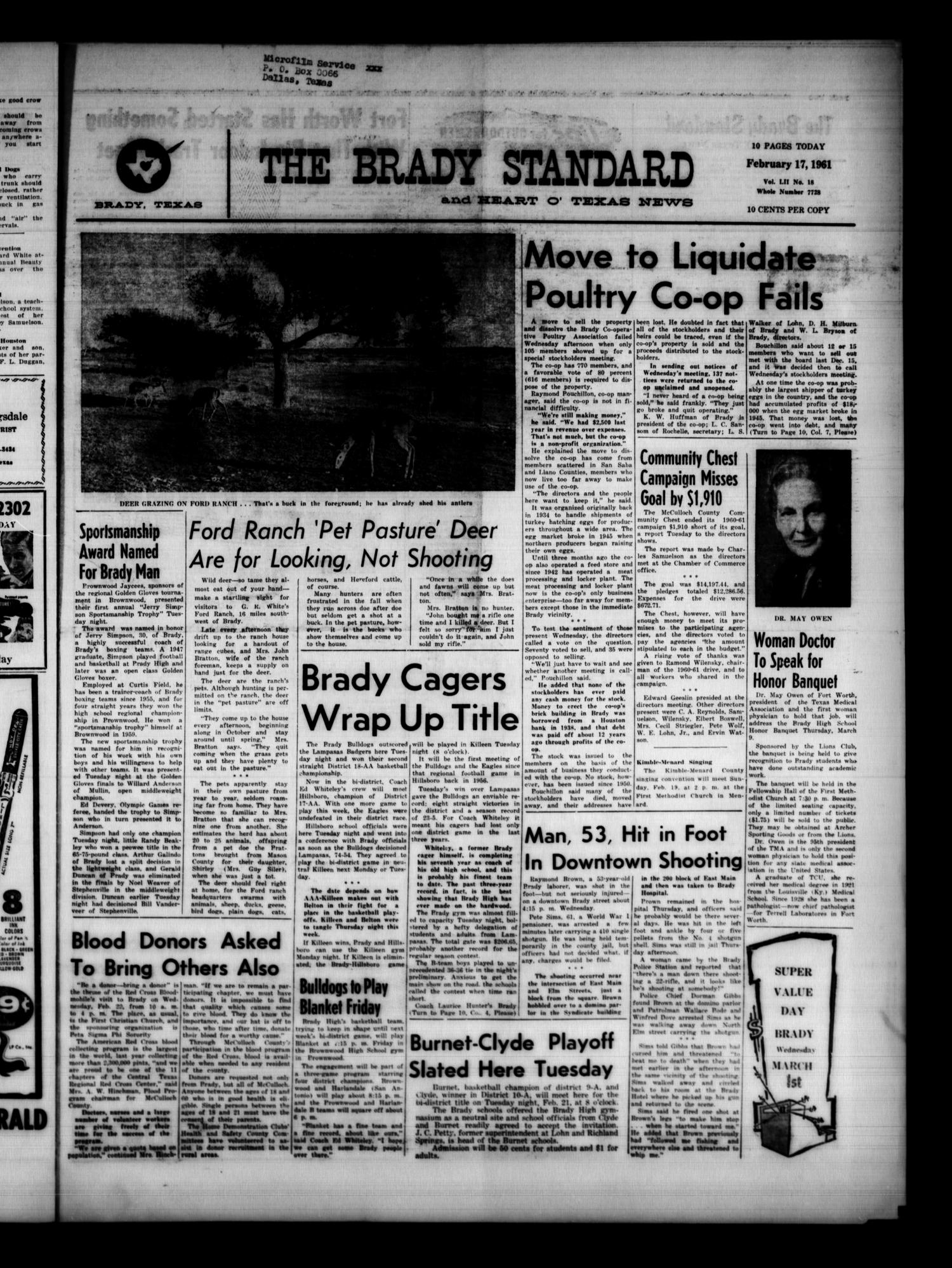 The Brady Standard and Heart O' Texas News (Brady, Tex.), Vol. 52, No. 18, Ed. 1 Friday, February 17, 1961                                                                                                      [Sequence #]: 1 of 10