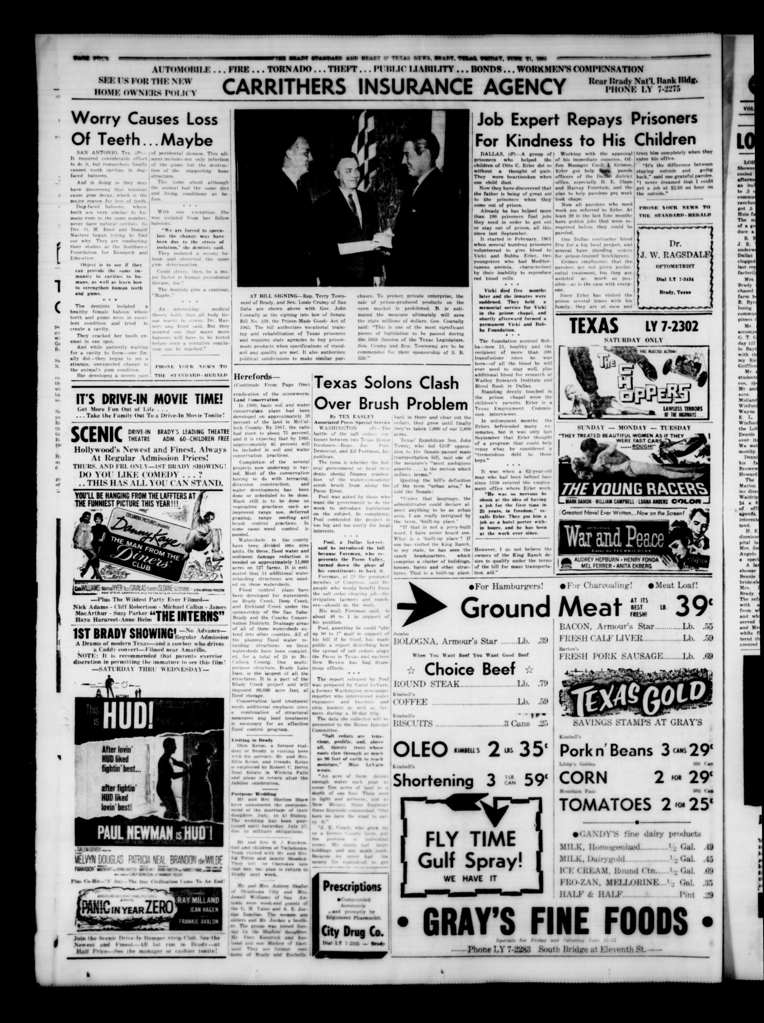 The Brady Standard and Heart O' Texas News (Brady, Tex.), Vol. 54, No. 36, Ed. 1 Friday, June 21, 1963                                                                                                      [Sequence #]: 4 of 12