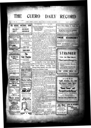 Primary view of object titled 'The Cuero Daily Record (Cuero, Tex.), Vol. 31, No. 107, Ed. 1 Friday, November 5, 1909'.