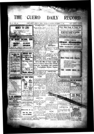 Primary view of object titled 'The Cuero Daily Record (Cuero, Tex.), Vol. 31, No. 118, Ed. 1 Thursday, November 18, 1909'.