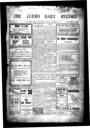Primary view of object titled 'The Cuero Daily Record (Cuero, Tex.), Vol. 31, No. 125, Ed. 1 Friday, November 26, 1909'.