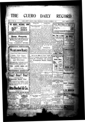 Primary view of object titled 'The Cuero Daily Record (Cuero, Tex.), Vol. 31, No. 135, Ed. 1 Wednesday, December 8, 1909'.