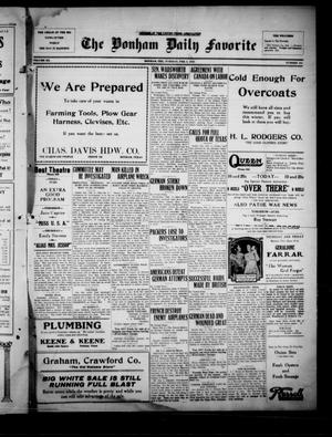 Primary view of The Bonham Daily Favorite (Bonham, Tex.), Vol. 20, No. 161, Ed. 1 Tuesday, February 5, 1918