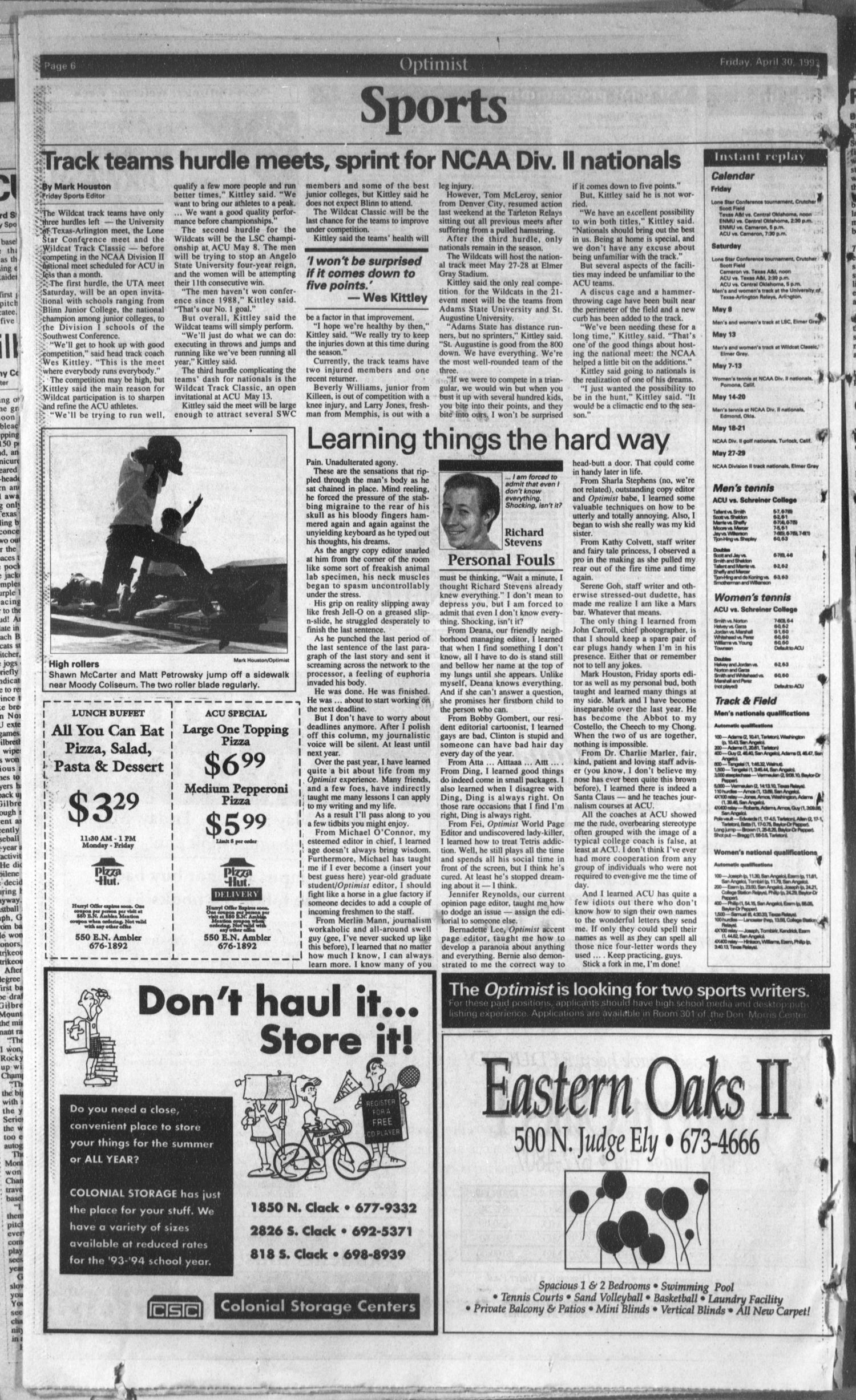 The Optimist (Abilene, Tex.), Vol. 81, No. 59, Ed. 1, Friday, April 30, 1993                                                                                                      [Sequence #]: 6 of 8