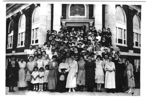 Primary view of object titled '[Women Outside First United Methodist Church]'.