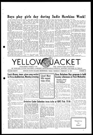 Primary view of object titled 'Yellow Jacket (Brownwood, Tex.), Vol. 37, No. 16, Ed. 1, Thursday, February 12, 1953'.