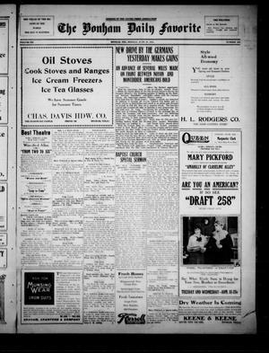 Primary view of The Bonham Daily Favorite (Bonham, Tex.), Vol. 20, No. 268, Ed. 1 Monday, June 10, 1918