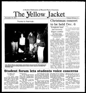 Primary view of object titled 'The Yellow Jacket (Brownwood, Tex.), Vol. 92, No. 11, Ed. 1, Friday, November 30, 2001'.