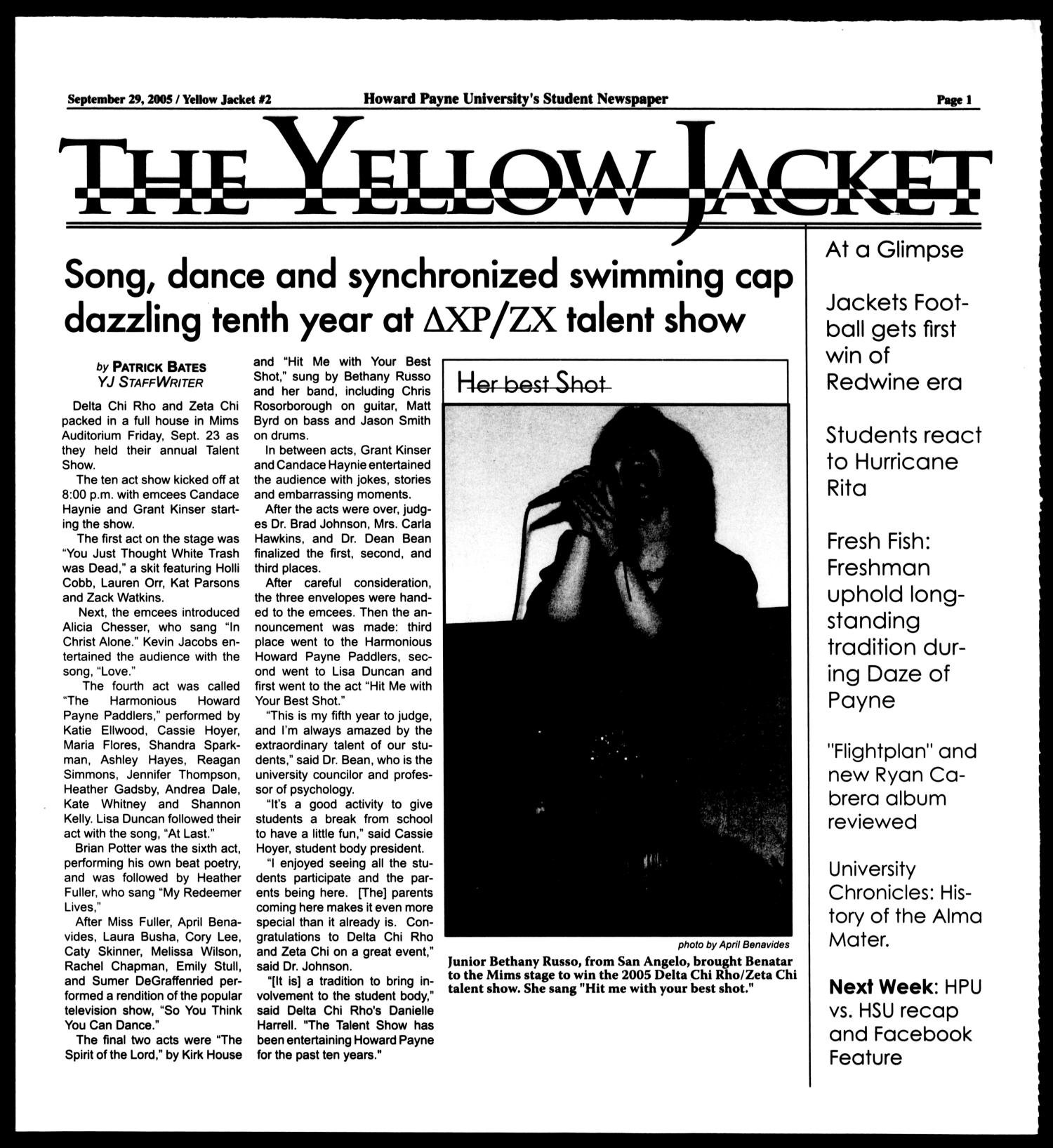 The Yellow Jacket (Brownwood, Tex.),  [Vol. 96], No. 2, Ed. 1, Thursday, September 29, 2005                                                                                                      [Sequence #]: 1 of 8