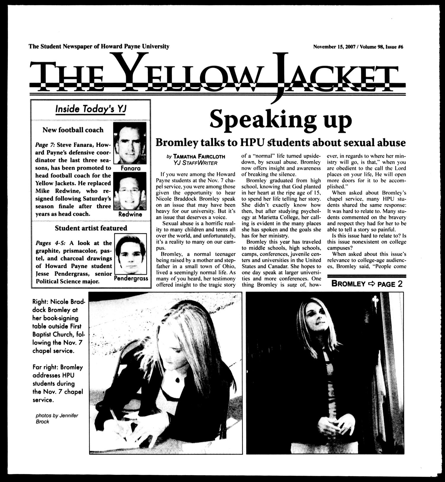 The Yellow Jacket (Brownwood, Tex.), Vol. 98, No. 6, Ed. 1, Thursday, November 15, 2007                                                                                                      [Sequence #]: 1 of 8