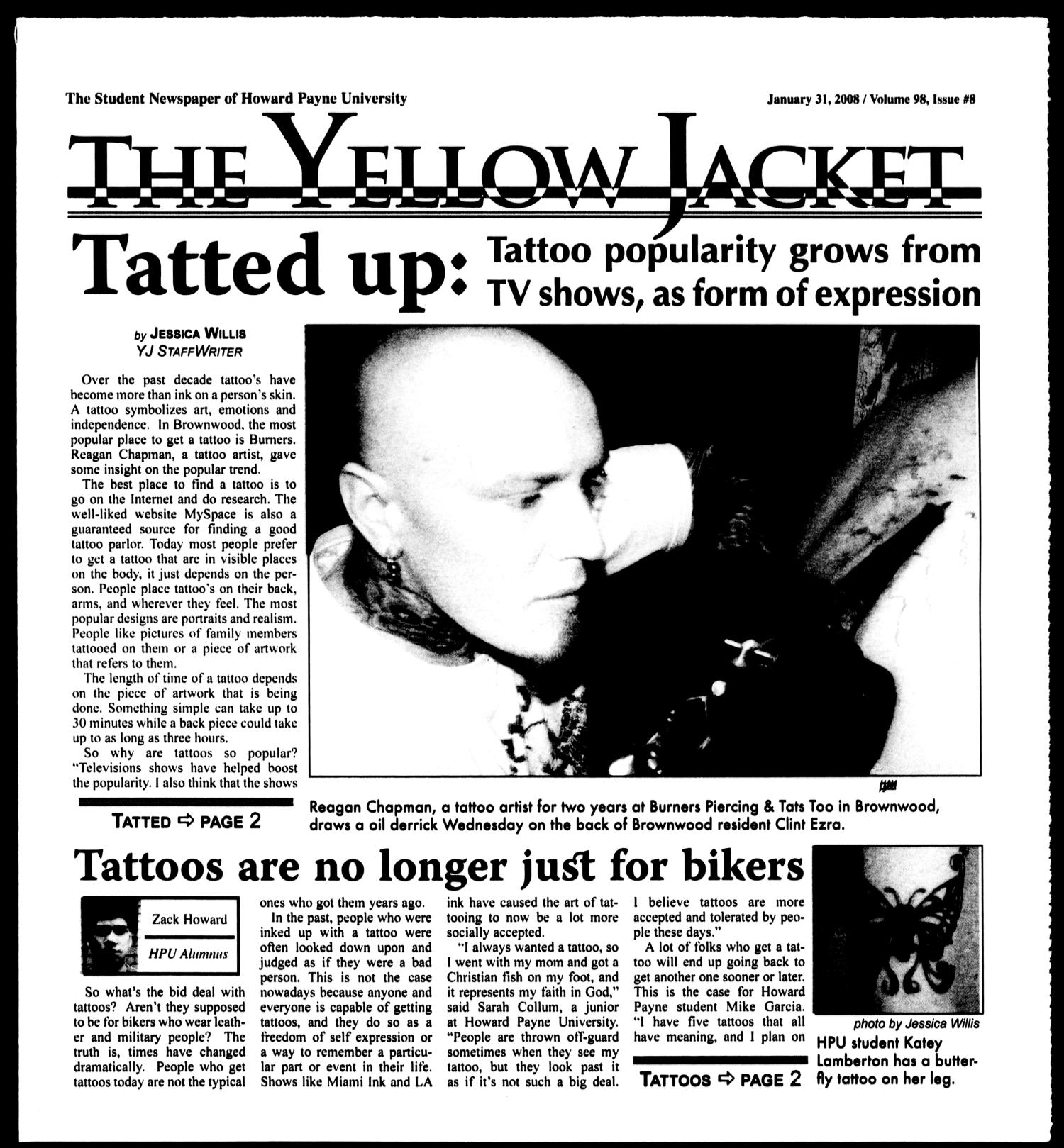 The Yellow Jacket (Brownwood, Tex.), Vol. 98, No. 8, Ed. 1, Thursday, January 31, 2008                                                                                                      [Sequence #]: 1 of 12