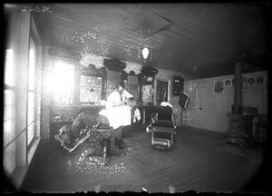 Primary view of object titled '[Interior View of Barbershop]'.