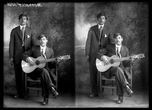 Primary view of object titled '[Portraits of Two Men with Guitar]'.