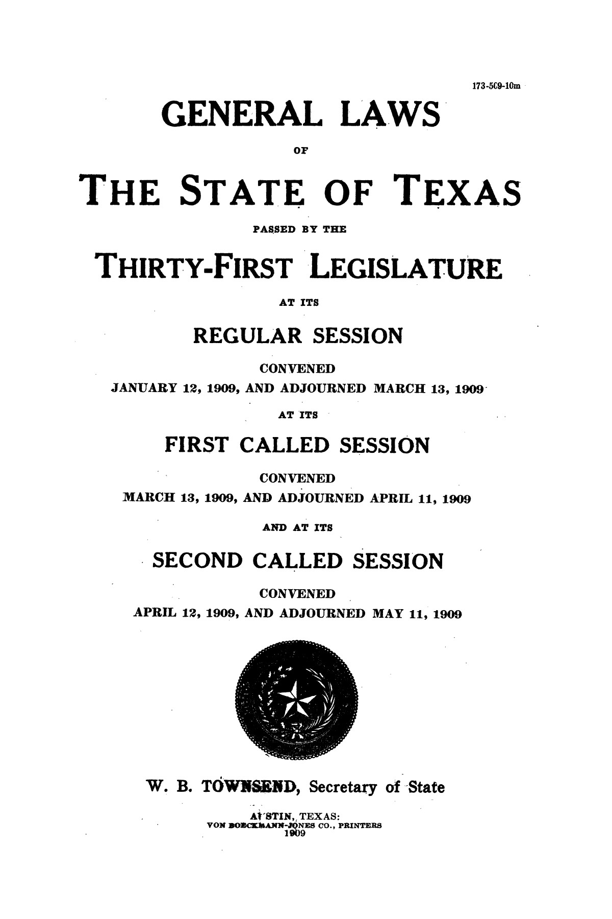 The Laws of Texas, 1909-1910 [Volume 14]                                                                                                      [Sequence #]: 1 of 1668