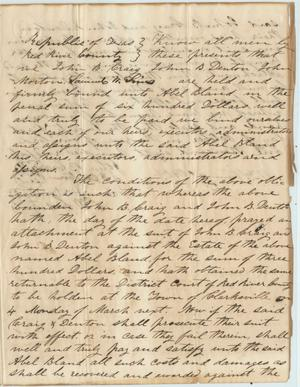 Primary view of object titled '[Legal payment agreement of John B. Denton and John B. Craig]'.