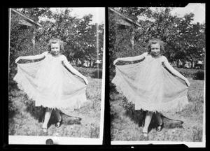 Primary view of object titled '[Two Pictures of Girl Curtseying]'.