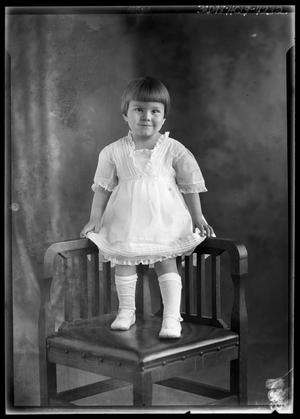 Primary view of object titled '[Portrait of Girl Standing in Chair]'.
