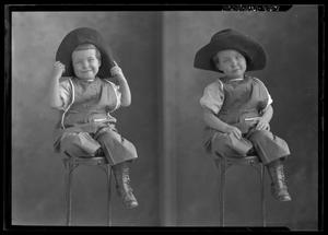 Primary view of object titled '[Two Portraits of Child Wearing Hat]'.